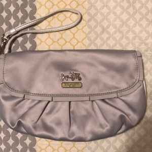 Coach silver nylon wristlet. Mint condition.
